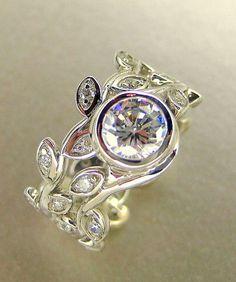 Leaf engagement ring set  White Sapphire 14k by ValerieKStudio, $1400.00