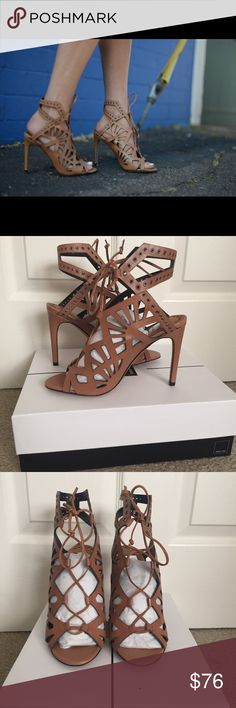 """Dolce Vita Helena Heels Leather upper with intricate cutouts, lace-up closure, metal eyelet detail, open toe. Heel height 4/12"""" color: caramelle TRADE Dolce Vita Shoes Heels"""