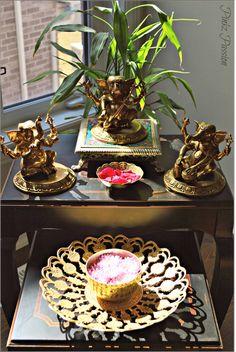 Indian inspired decor, ganesha, musical Ganesha, brass artifacts, sin kissed corners, brass Ganesha