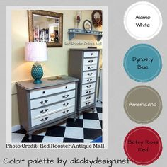 Americano is a fabulous grey beige (greige...)  that is almost universal to any palette.  I love the many colors you can pair with it!  This set was finished by Red Rooster Antique Mall.