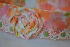 Fabric rose headband hair band upcycled pillowcase by mailebaldwin