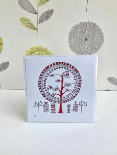 Tree greetings card, tree of life, Scandinavian style design, flowers, owl, birds in trees, blank card, birthday gifts, hand drawn original