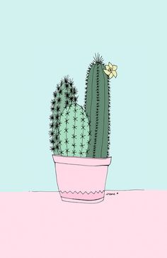 Cell Phone Background / Wallpaper Cactus illustrations by Irene Cabrera Lorenzo. There's something beautifully feminine about the style. Phone Backgrounds, Wallpaper Backgrounds, Plain Wallpaper Iphone, Plant Wallpaper, Photo Wallpaper, Wallpaper Ideas, Illustration Cactus, Landscape Illustration, Cactus Art