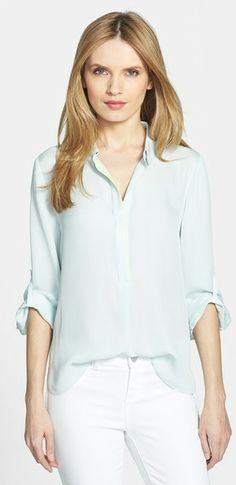 Baby blue silk shirt