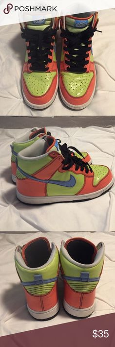 Patton Leather High Top Nike 6.0 Multi color Patton leather dunks size 11 women's equivalent to 9 men's US really unique. Nike Shoes Sneakers