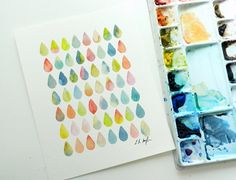 Original Watercolor Colorful Raindrops Design by Elise Engh