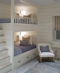 Built in bunks House of Turquoise: Sophie Metz Design Bunk Beds Built In, Bunk Beds With Stairs, Kids Bunk Beds, Bunkbeds For Small Room, Built In Beds For Kids, Bunk Beds For Girls Room, Build In Bunk Beds, Bunk Beds For Adults, Small Bunk Beds