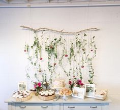 shower dessert table / floral backdrop / photo by delbarr moradi Baby Shower Fall, Floral Baby Shower, Bridal Shower, Floral Backdrop, Floral Garland, Birthday Party Tables, Festa Party, Deco Floral, Diy Party Decorations