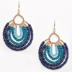 Blue Topaz, Apatite and Sapphire semi-precious stones with metallic gold beads