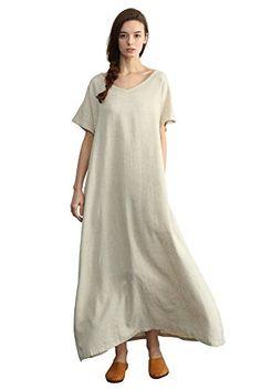 355650b7e37 Sellse Women's Linen Loose Summer Long Dress Plus Size Co... https:/