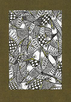 Geometrical natural stylized drawing, ornamental pattern, black and white - Graphic art drawing I. $17.00, via Etsy.