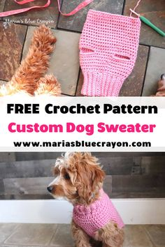 Crochet Basic Dog Sweater - Free Step by Step Tutorial - Maria's Blue Crayon Free Form Crochet, Crochet Dog Sweater Free Pattern, Crochet Dog Patterns, Knit Dog Sweater, Easy Crochet, Snood Pattern, Pet Sweaters, Small Dog Sweaters, Crochet Dog Clothes