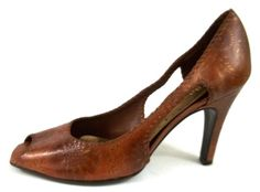 BCBGirls Heels Brown Floral Embossed Leather Pumps Shoes Womens Size 8 B #BCBGirls #PumpsClassics #everyday
