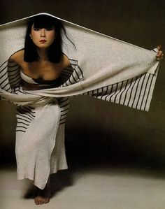 """vroomheid: """" Issey Miyake, 1977 It was the first monograph of a living fashion designer to be published in the world. A multitude of photographs and essays by artists from different mediums explored. 70s Women Fashion, Fashion Images, Boho Fashion, Fashion Models, Vintage Fashion, Fashion Design, Japanese Models, Japanese Fashion, Issey Miyake Women"""