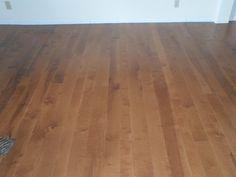 This is Birch with a custom stain and mixed widths. Its a long length floor. Done by Superior Floors.