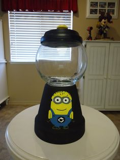 sandylandya@outlook.es  Minion Candy Jar combining two of aidan's favorite things a gumball machine and a minion!