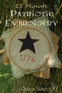 Primitive style 4th of July embroidery - Simple supplies and hand stitching means a fast, portable project that adds a patriotic flair to any room