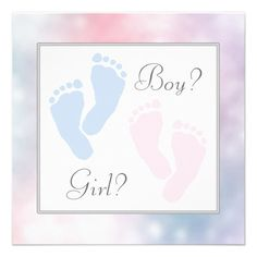 Adorable Pink and Blue Baby Feet Footprint Gender Reveal Party Template