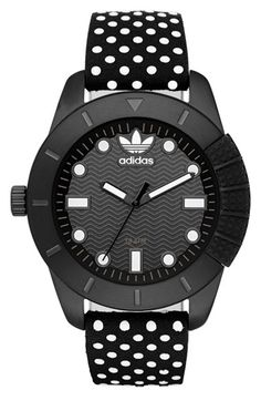Free shipping and returns on adidas Originals 'ADH-1969' Leather Strap Watch, 42mm at Nordstrom.com. A sporty silicone bumper inspired by 1969, the year the iconic adidas Superstar shoe debuted, details a bold round watch with a cool textured dial.