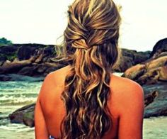Pretty hair for a beach wedding, and my mom happens to be getting married on the beach. :)