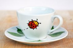Ladybug Coffee Cup and Saucer Set - Made to Order - Personalized kid mug - Personalized Child's cup - Hand Painted porcelain