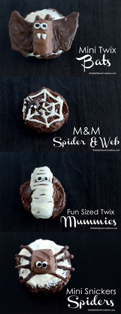 Spiders, Bats and Mummies made from Candy Bars