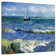 VanGogh 'Seascape At Saintes Maries' Wrapped Canvas Art - Overstock™ Shopping - Top Rated ArtWall Canvas