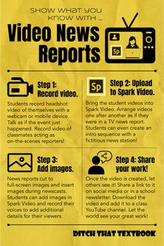 How fun would it be for your students to play news anchor to what they're learning? Let them take the anchor's desk and create a news report with Adobe Spark Video, mixing video, images and voice into a slick video. High School Classroom, Online Classroom, Real Teacher, 6th Grade Ela, Classroom Inspiration, Classroom Ideas, How To Create Infographics, Project Based Learning, Video News