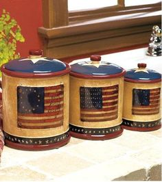 Set of 3 Americana Kitchen Canisters