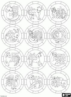 1000 images about sternzeichen malvorlagen f r for Chinese zodiac coloring page