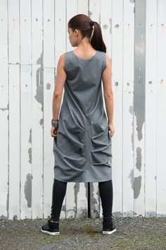 Trendy Grey Loose Casual Tunic/ Asymmetric Long by Metamorphoza