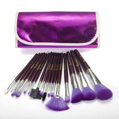 16 PC Cosmetic Makeup Beauty Blending Countouring Purple Blush Powder Brush Set - The Accessory Nook  - 1