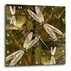 3dRose Dragonflies Graphic Design Dragonflies, Wall Clock, 10 by 10-inch