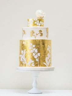 Gold leaf wedding cake by Rosalind Miller Cakes ~ Beautifully Decorated and Delicious Award Winning Wedding Cakes  http://www.rosalindmillercakes.com/