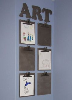 Easy idea for boys' art display