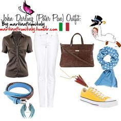 """John Darling (Peter Pan) Outfit """"John Darling (Peter Pan) Outfit"""" by martinafromitaly on Polyvore<br> A fashion look from February 2012 featuring brown top, elastic-waist jeans and lace up shoes. Browse and shop related looks. Peter Pan Outfit, Disneybound, Lace Up Shoes, Elastic Waist, Movie Outfits, Fandom Fashion, Fashion Looks, Style Inspiration, Inspired Outfits"""