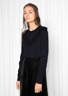 2f940c7194be Other Stories Merino Wool Frills Knit All Black Everything, No Frills,  Office Wear