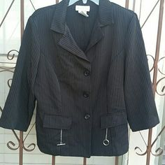 Weekend sale!!! Skirt suit, pinned striped. Black, pinned striped skirt suit. Dresses