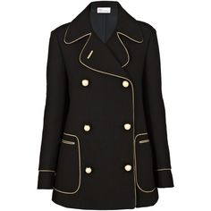 REDValentino Piped Pea Coat found on Polyvore featuring outerwear, coats, jackets, black, belted coat, double-breasted pea coat, belted peacoat, pea coat and red valentino coat