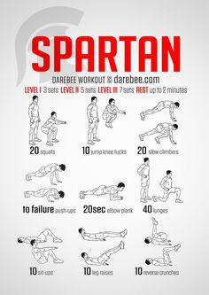 Spartan Workout – Spartans took pain and made it their friend. The Spartan worko… Spartan Workout – Spartans took pain and made it their friend. The Spartan workout exercises some major muscle groups to give you the total warrior feeling when you move. Fun Workouts, At Home Workouts, Workout Exercises, Fitness Exercises, 300 Workout, Training Exercises, Body Weight Exercises, Home Workout Men, Workout Routine For Men