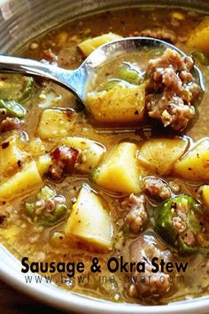 Sausage and Okra Stew - Seriously delicious this is rich and hearty - all you really need is a great loaf of crusty bread to sop up all this amazing broth! via Bowl Me Over / Influencer / Entrepreneur Healthy Recipes, Chili Recipes, Pork Recipes, Cooking Recipes, Healthy Food, Recipies, Grouper Recipes, Goulash Recipes, Cooking 101