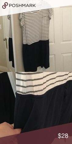 WEEKEND SALE Gap Dress Good condition; gray and white striped top and navy pull tie bottom with pockets GAP Dresses