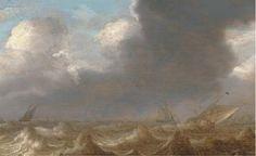 Scheepvaart in een rukwind, toegewezen aan Jan Porcellis