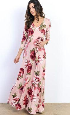 Vintage Rose Floral Wrap Maxi Dress - Blush