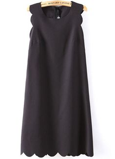 robe A ligné motif zigzag sans manche -Noir  EUR€17.21