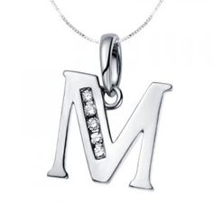 """M"" initial Diamond Alphabet Pendant on 18k White Gold"