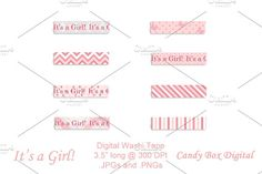 """Baby Girl Digital Washi Tape Graphics Pictures of baby! From the first ultrasound, she's your little girl. Use these """"It's a Girl!"""" digita by Candy Box Digital"""