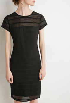 8da6f79acbf6 Forever 21 Contemporary - Fully lined stretch knit shadow stripe dress in a  bodycon fit featuring a semi-sheer panel from its yoke to its cap sleeves,  ...