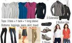 Packing list: 3 T's + 1 LS + 1 tank, 2 button-ups, 4 bottoms (leggings, jeans, skirt, cargo pants), 3 shoes (pool, hiking/walking, second walking), 3 outerwear (softshell, rainwear, fleece)