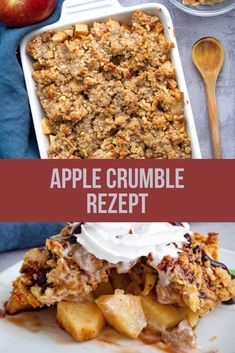 Apple Crumble Rezept (Vegan) This apple crumble recipe is the perfect dessert in the fall. It is soft, delicate and made so quickly. Refine the apple crumble with whipped cream or ice cream and it tastes heavenly! This apple crumble is vegan. Apple Crumble With Oats, Vegan Crumble, Crumble Recipe, Healthy Apple Crumble, Vegan Apple Crisp, Vegan Breakfast Recipes, Healthy Dessert Recipes, Apple Recipes, Fall Recipes